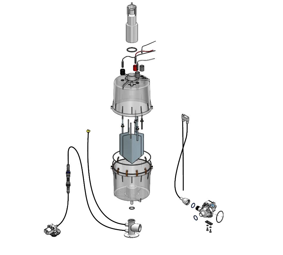 Funktion und Aufbau - ferngeschalteter Elektroden Dampfluftbefeuchter für Büroräume - StandardLine Explosionszeichnung Geräte