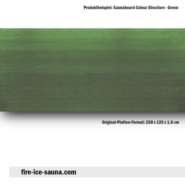 Saunaholz Espe farbig - Colour Green Furnier strukturiert