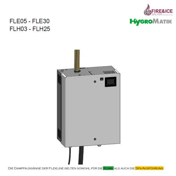 Dampfgenerator FlexLine Spa Heizkörper   Hygromatik FLH03: 2,7-3,3 kg/h für 3,38-4,13 m³