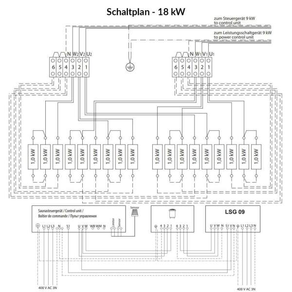 Elektrosaunaofen Goliath Standausführung Schaltplan 18 kW-260-GOL