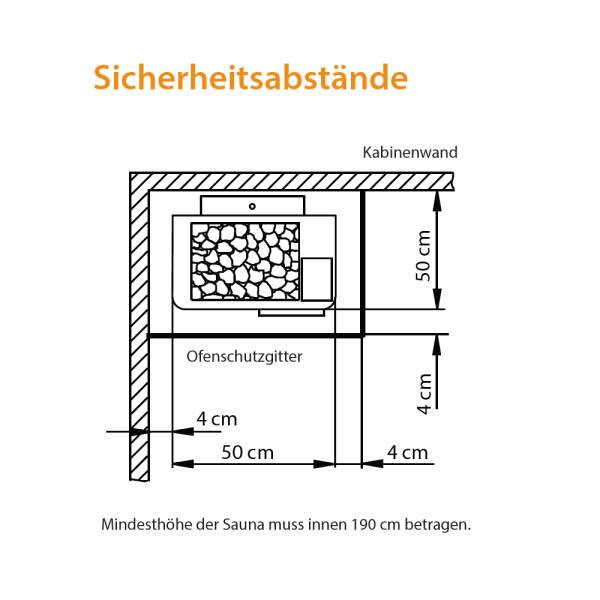 Elektroverdampfersaunaofen Bi-O Max Standausführung Sicherheit Abstände-260-BOM