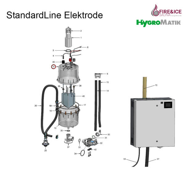 Dampfzylinder CY17 komplett, 6 Elektroden (SP-04-00100)
