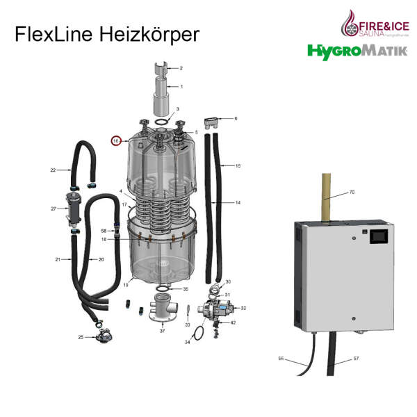Dampfzylinder 380-415 V für FLH40/80 CY45 komplett...