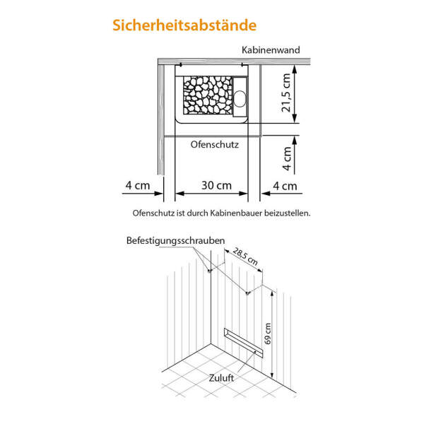 Elektroverdampfersaunaofen Bi-O Mini Wandausführung Sicherheit Abstände-260-MiniB