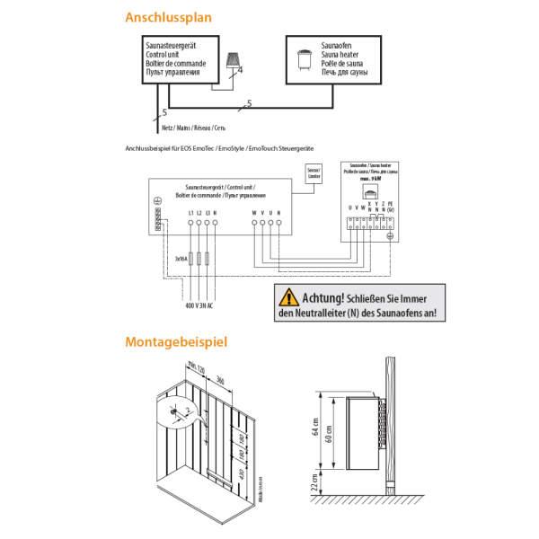 Saunaofen Elektro Wandausführung schwarz | 6,0 - 9,0 kW | EOS Moment W