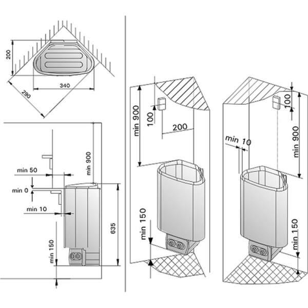Saunaofen Delta mit integriertem Steuergerät 2,3 kW