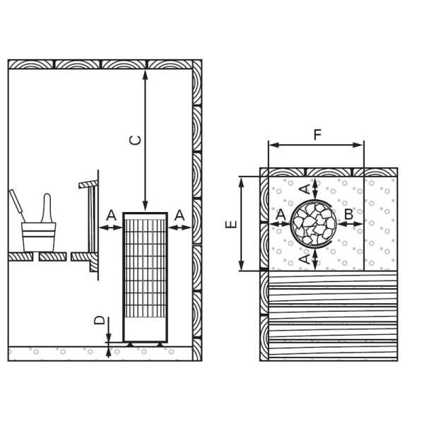 Saunaofen Cilindro PC90H (halb offen) 9,0 kW, integr. Steuerung, Schwarz