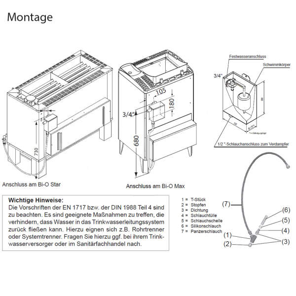 Festwasseranschluss zur Befüllung des Verdampfers - FWA 01 Compact