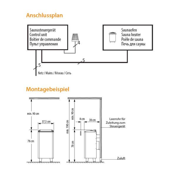 Elektrosaunaofen Thermo-Tec S Standausführung Sicherheit Anschluss-260-94.5684