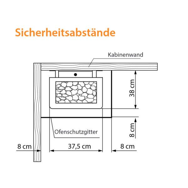 Elektrosaunaofen Thermo-Tec S Standausführung Sicherheit Abstände-260-94.5684