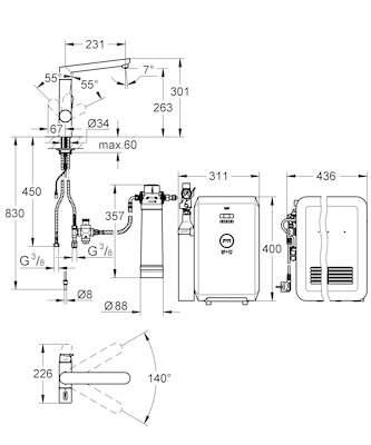 GROHE Blue K7 Starter Kit, matte SuperSteel oder Chrom Oberfläche