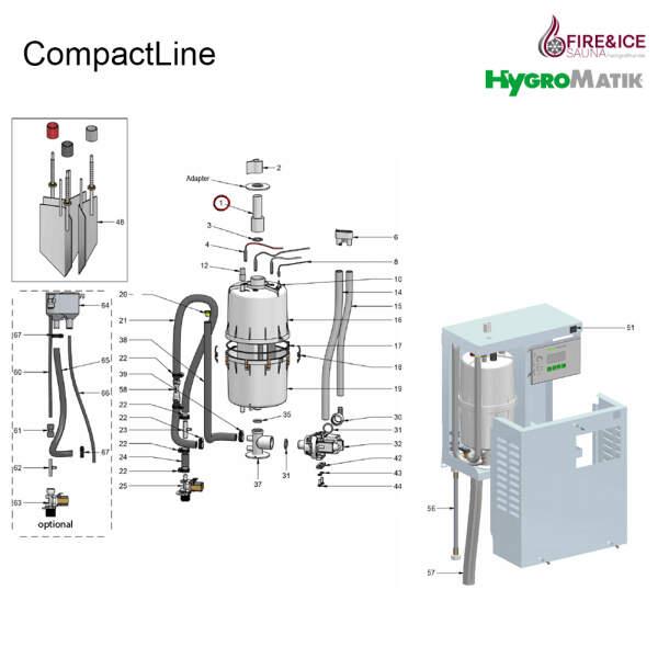 Adapter des Dampfschlauches DN25 für Dampfgeneratoren (E-2209000)