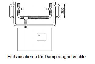 Dampfmagnetventil 0-0,4 bar, komplett für Dampfschlauch DN25 (B-2604025)