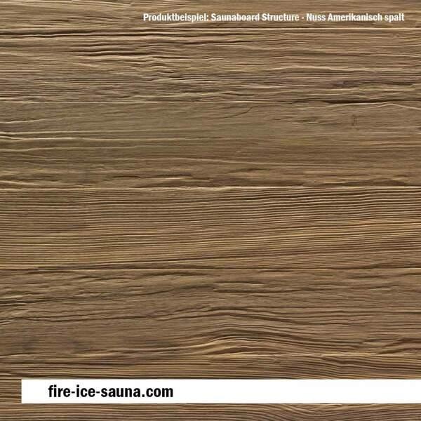 Saunaholz Nuss Amerikanisch mit geprägter Oberfläche - Furnier strukturiert mit Spaltprägung
