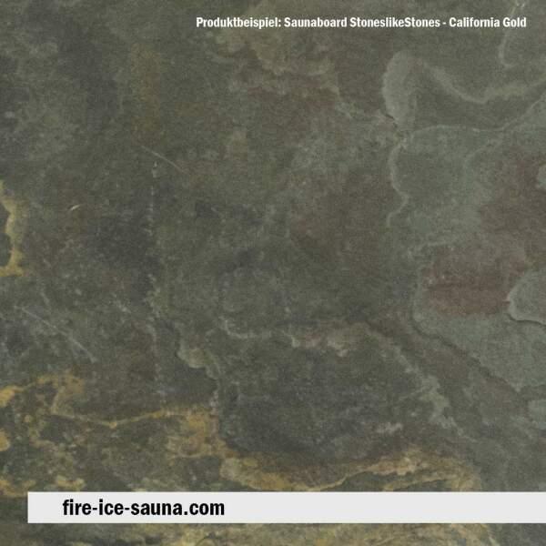 Saunaholz Buntschiefer California Gold - Steinfurnier mit Naturstein