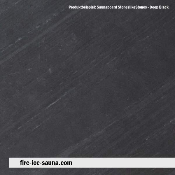 Saunaholz Glimmerschiefer Deep Black - Steinfurnier mit Naturstein