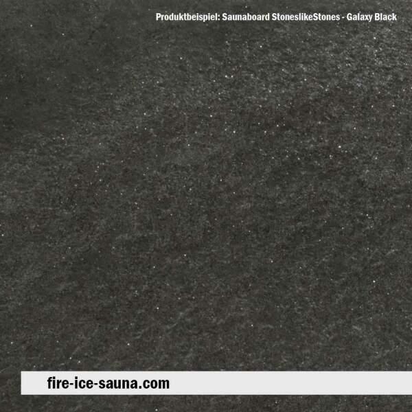 Saunaholz Glimmerschiefer Galaxy Black - Steinfurnier mit Naturstein