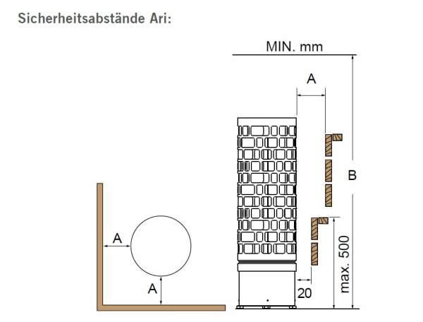 Säulenofen ARI ECK mit integrierter Saunasteuerung 9,0kW