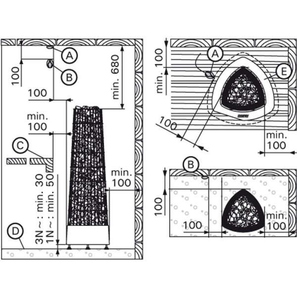 Saunaofen Kivi E (Steuergerät erforderlich) 9,0 kW