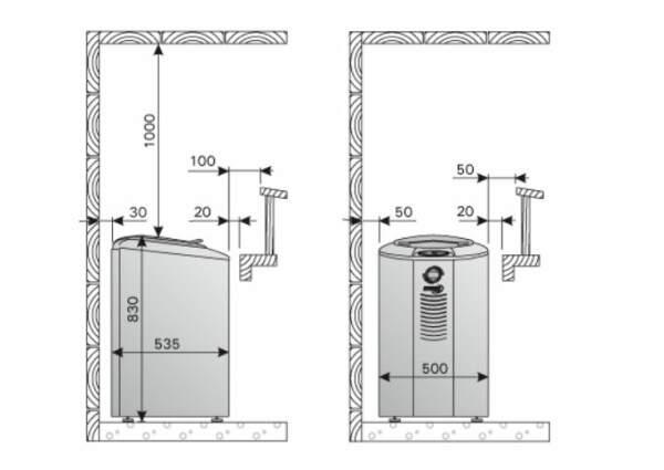 Saunaofen Forte AF9, 9 kW, mit Steuerung, Farbe: Stahl