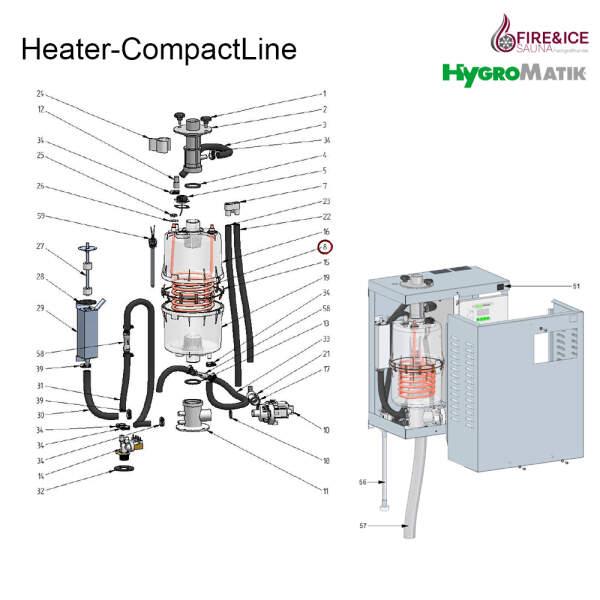 Heizkörper 230V / 2,25 kW für Dampfgeneratoren...