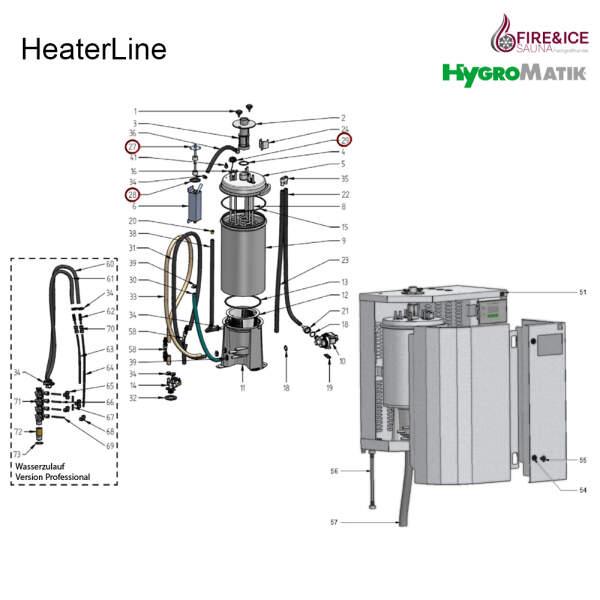 Steuerzylinder komplett, Niveausteuerung für Dampfgeneratoren (B-2504121)