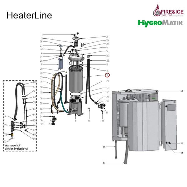 Dampfzylinderunterteil, klein, für Heizkörper-Dampfgeneratoren (E-2205078)