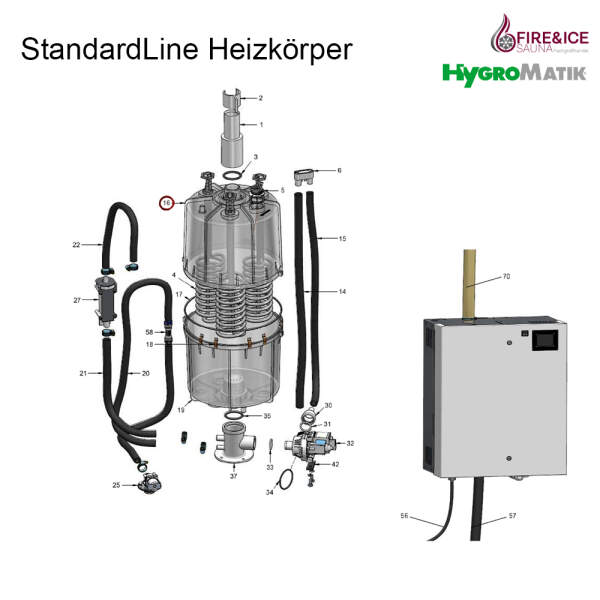 Dampfzylinder 208-240 V für SLH03 CY08 komplett (SP-03-01010)