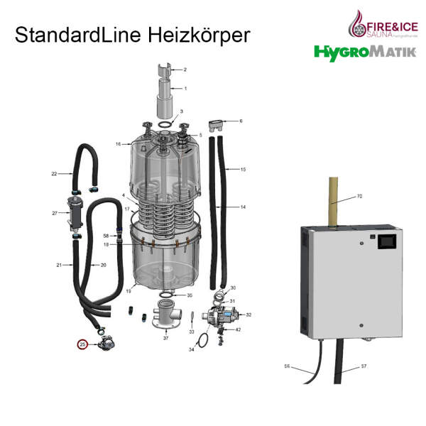 Magnetventil 0,2-10 bar, 1,1 l/min für Dampfgeneratoren (WF-03-00010)